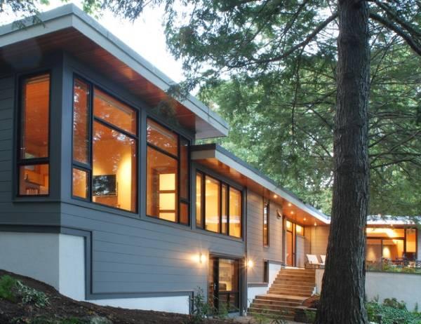 Дизайн окон в частном доме - фото фасада