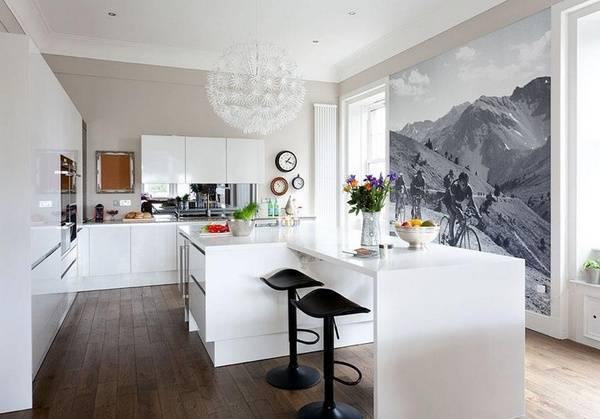фотообои на кухне в интерьере фото