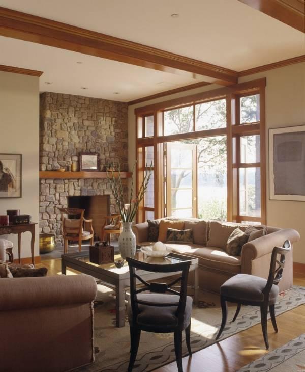 Дизайн окна в гостиной - фото балкона и окон из дерева