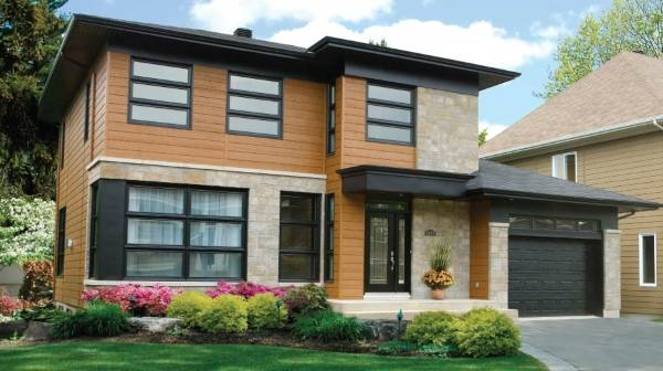 Отделка фасадов частных домов фасадными панелями - фото деревянных панелей