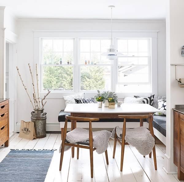Стол обеденный белый в интерьере кухни