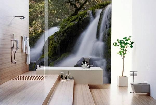 Красивые фотообои в ванную комнату Водопад