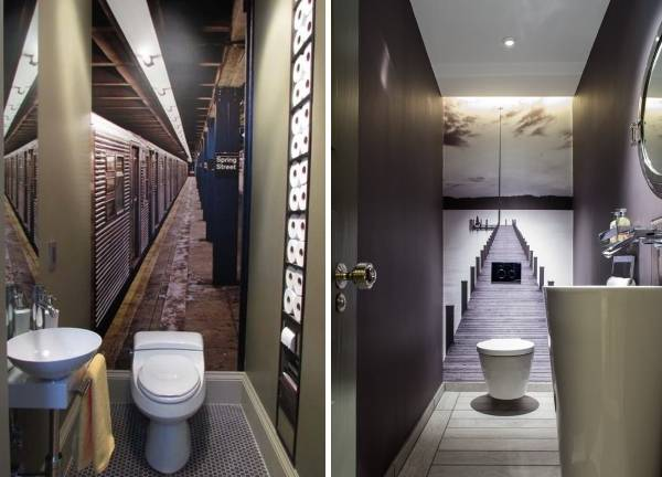 Фотообои в дизайне ванной комнаты и туалета
