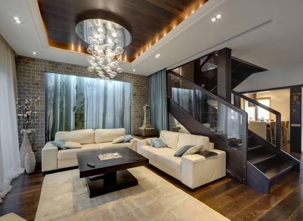 Фотообои в гостиной с подсветкой
