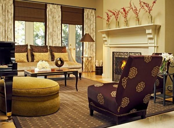 Сочетание дизайна штор и мебели в интерьере