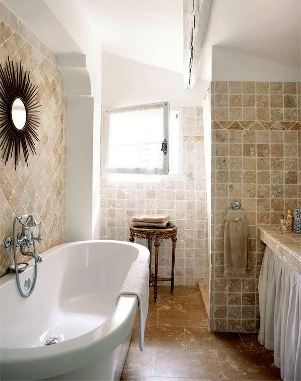 Плитка для ванной под камень в стиле прованс