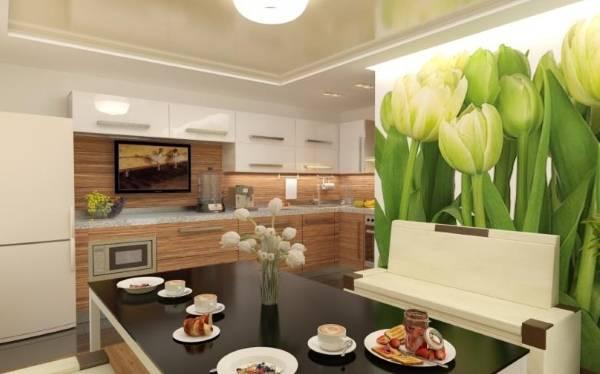 Фотообои цветы в интерьере - фото кухни