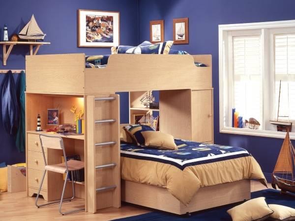 Детская кровать чердак с рабочей зоной и кроватью внизу