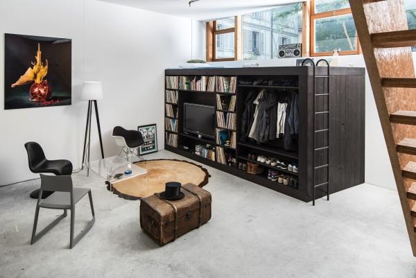 Шикарная кровать чердак для взрослых со шкафом
