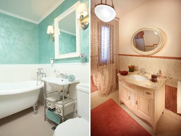 Стиль прованс в ванной маленького размера