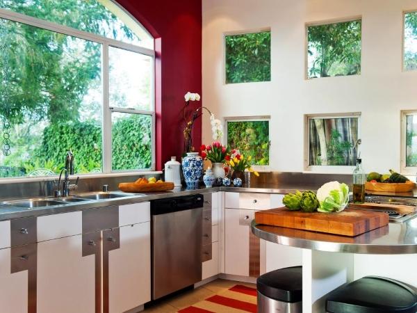 Оригинальные дизайн окна на кухне
