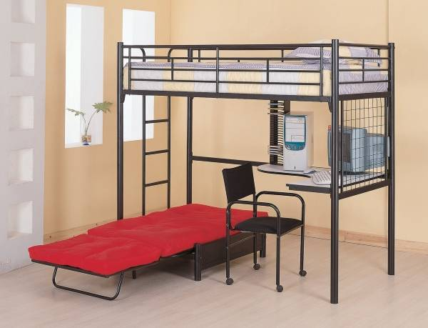Черная стильная кровать чердак с кроватью внизу фото