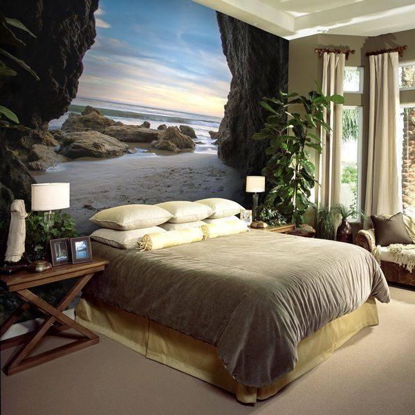 Необычные фотообои 3д - фото спальни