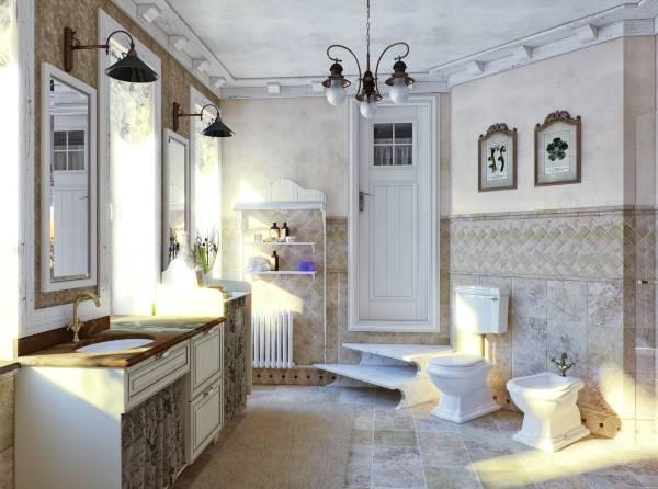 Традиционный стиль прованс в ванной - фото ванной в частном доме