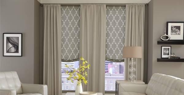 Расслабленные римские шторы из тонкой ткани