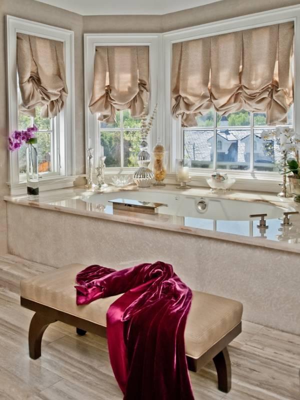 Римские шторы на фото ванной комнаты