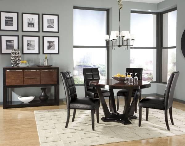 Шикарный стол обеденный круглый с кожаными стульями