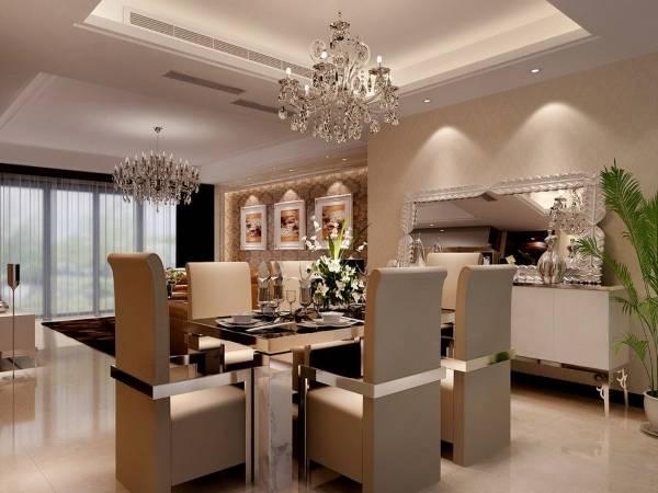 Luxury дизайн интерьера и хромированный обеденный стол