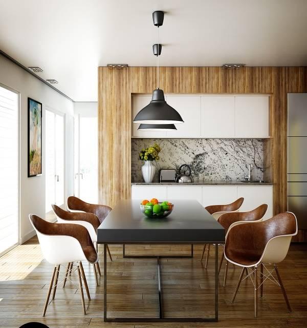 Современные обеденные столы и стулья для кухни фото