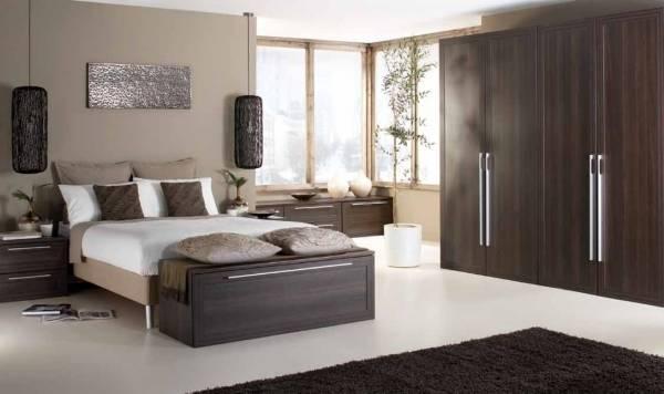 Гардеробный шкаф для спальни в темном цвете