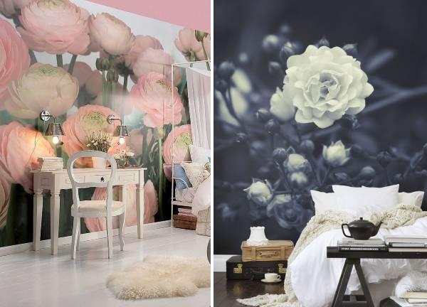 Фотообои цветы в спальне