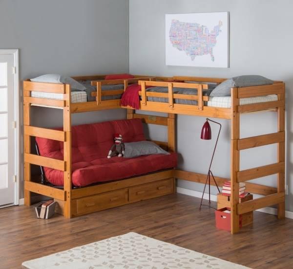 Угловая кровать чердак с диваном внизу