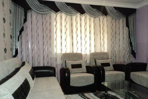 Люрексные шторы в стиле хай тек