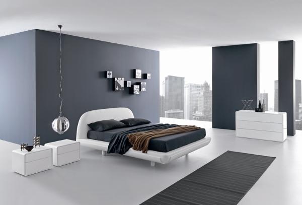 Черно-белая спальня в стиле хай тек