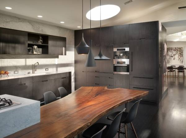 Деревянная столешница в дизайне кухни 2016