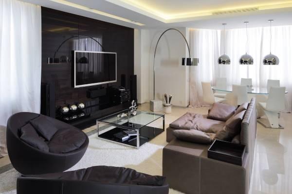 Стиль хай тек в интерьере - фото гостиной