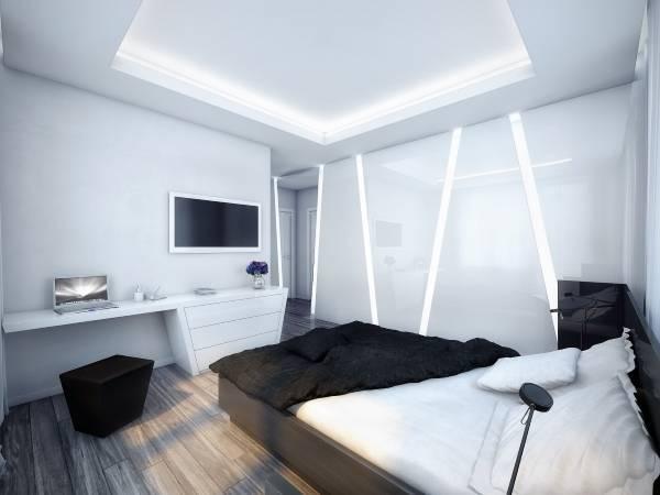 Футуристический интерьере спальни в стиле хай тек