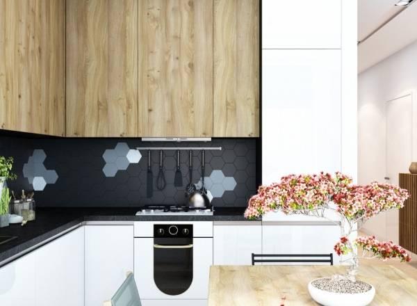 Гексагональная форма плитка для стен кухни