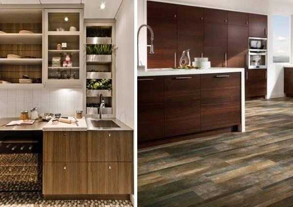 Виниловая напольная плитка, кварц и меланин в дизайне кухни