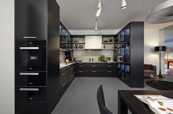 Стиль хай тек - фото кухни с гостиной