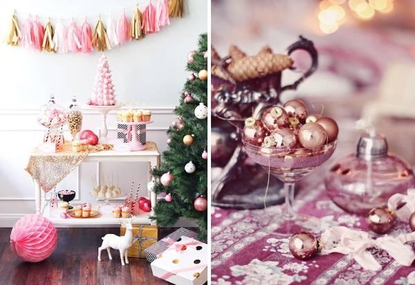 2016 Новый год - украшение интерьера в розовом цвете
