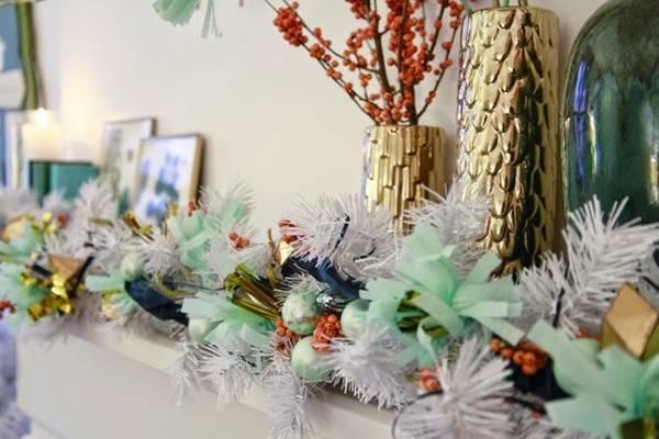 Мятное украшение интерьера на Новый год фото