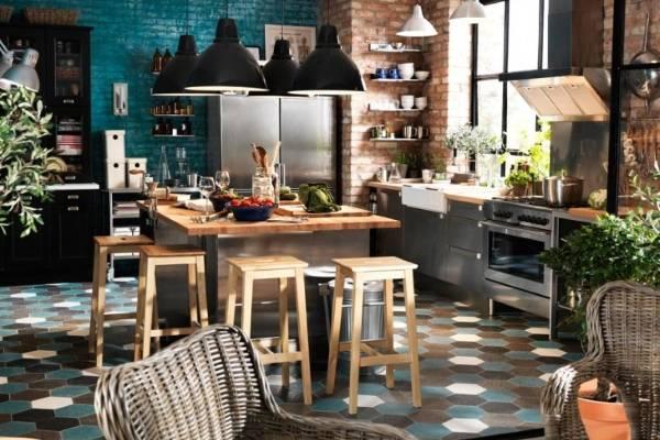 Шестиугольная плитка для пола на кухне