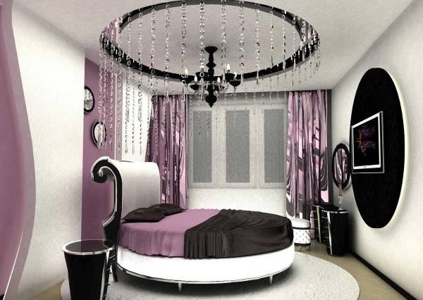 Стиль хай тек в интерьере спальни - фото штор