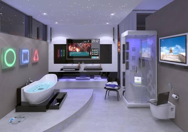 Современная ванная комната в стиле хай тек