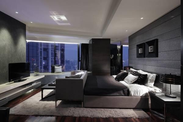 Серая спальня в стиле хай тек