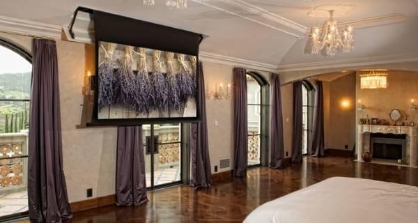 Шторы в стиле хай тек - фото спальни