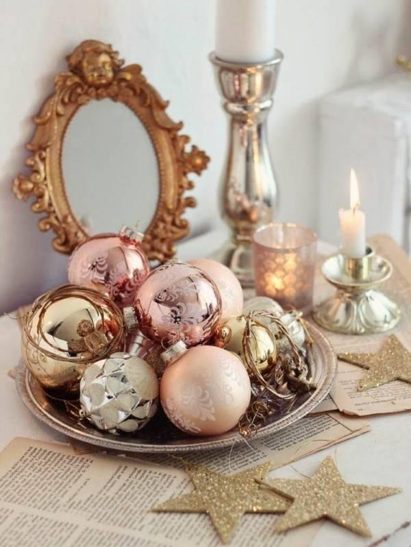 Новогодние украшения под золото, медь и другие металлы
