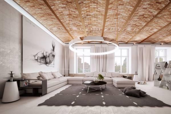 Уникальный дизайн гостиной в стиле хай тек