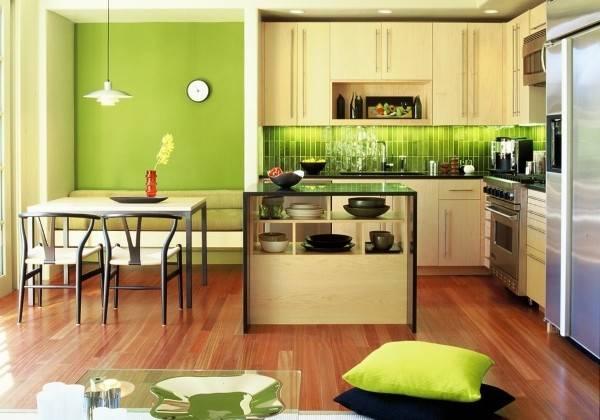 Зеленый цвет стен на кухне фото