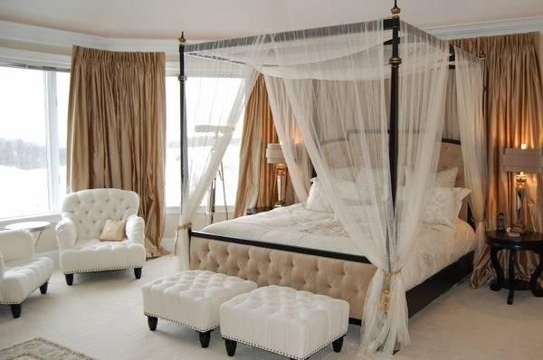 Красивый балдахин тюль в спальне
