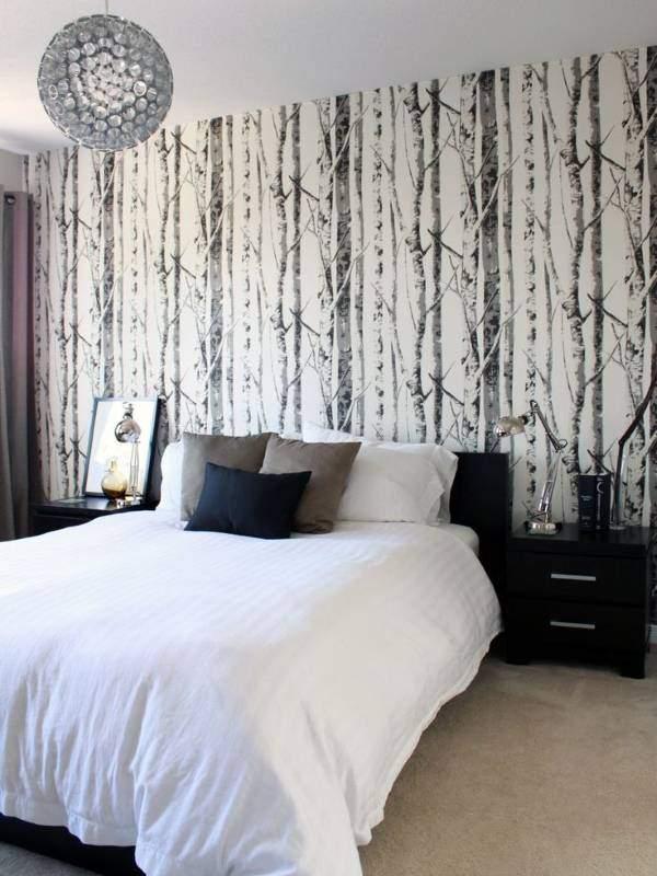 Черно-белые обои в спальню - фото дизайн лес