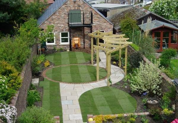 Красивый дизайн садового участка маленького