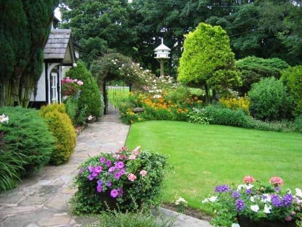 Современный дизайн садового участка с цветами