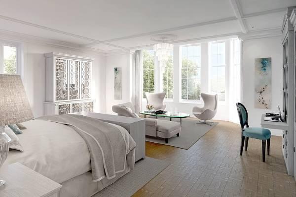Бело серая спальня с красивой мебелью