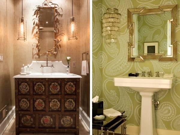 Светильники и зеркала над раковиной в ванной